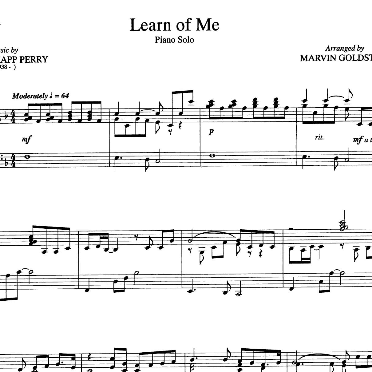 learn of me sheet music pdf